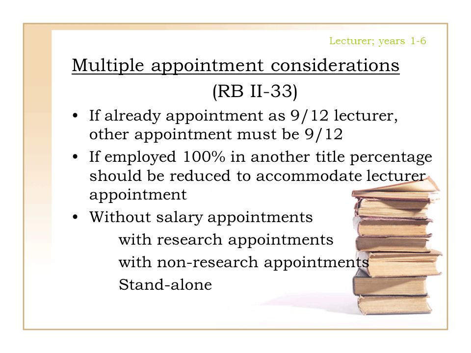 Multiple appointment considerations (RB II-33)