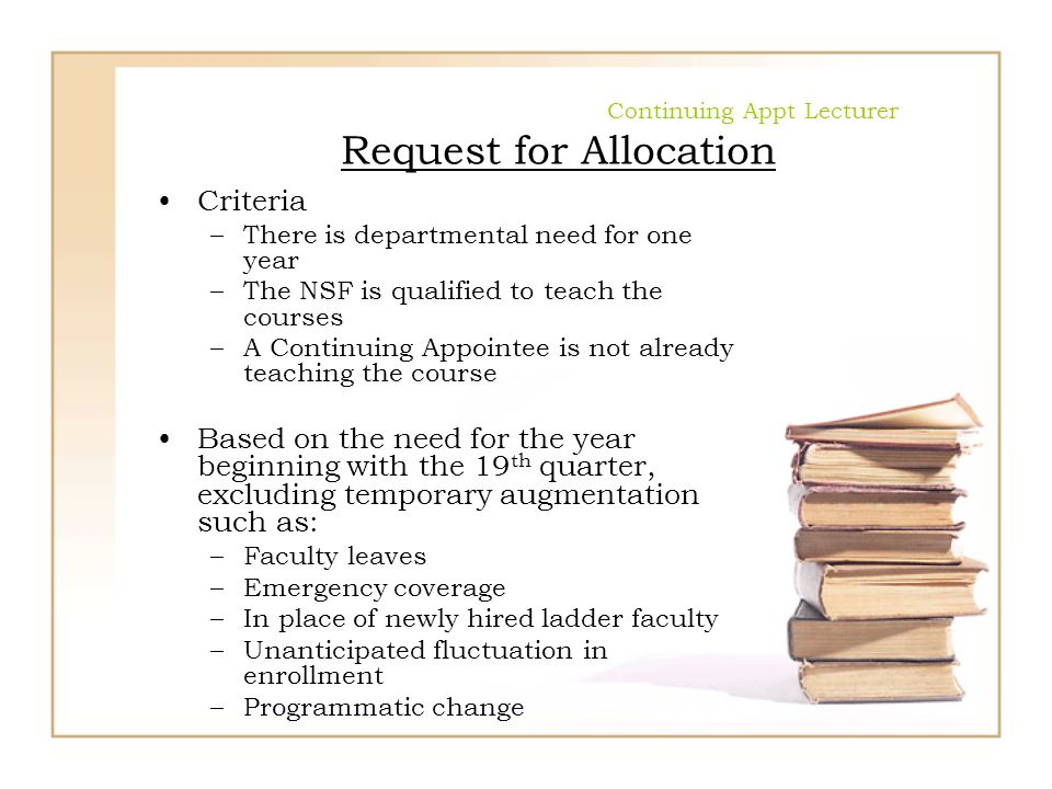 Continuing Appt Lecturer Request for Allocation