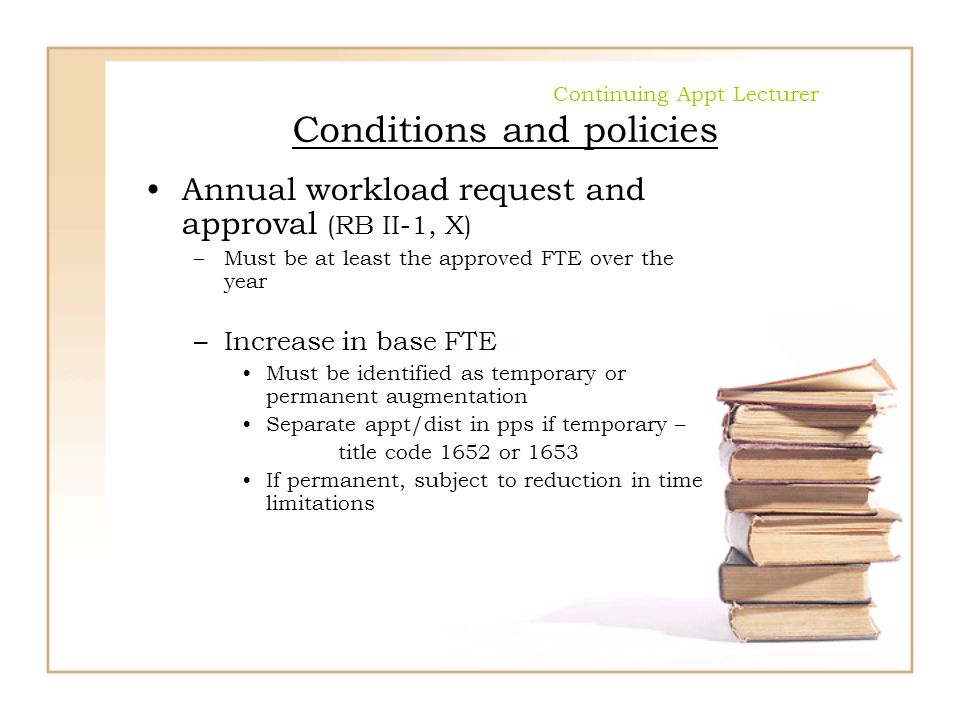 Continuing Appt Lecturer Conditions and policies