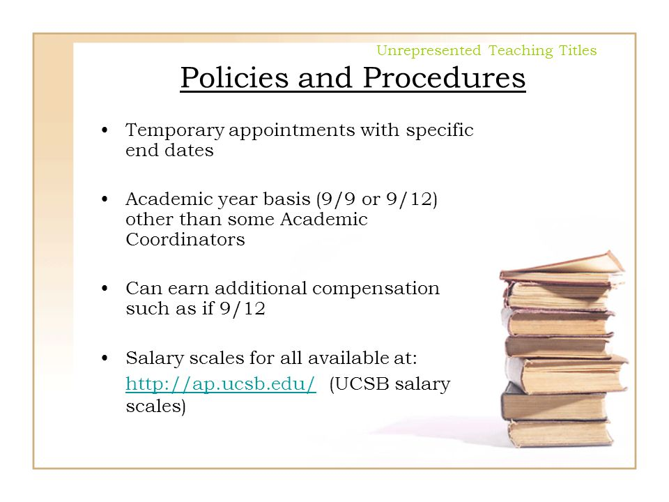 Unrepresented Teaching Titles Policies and Procedures