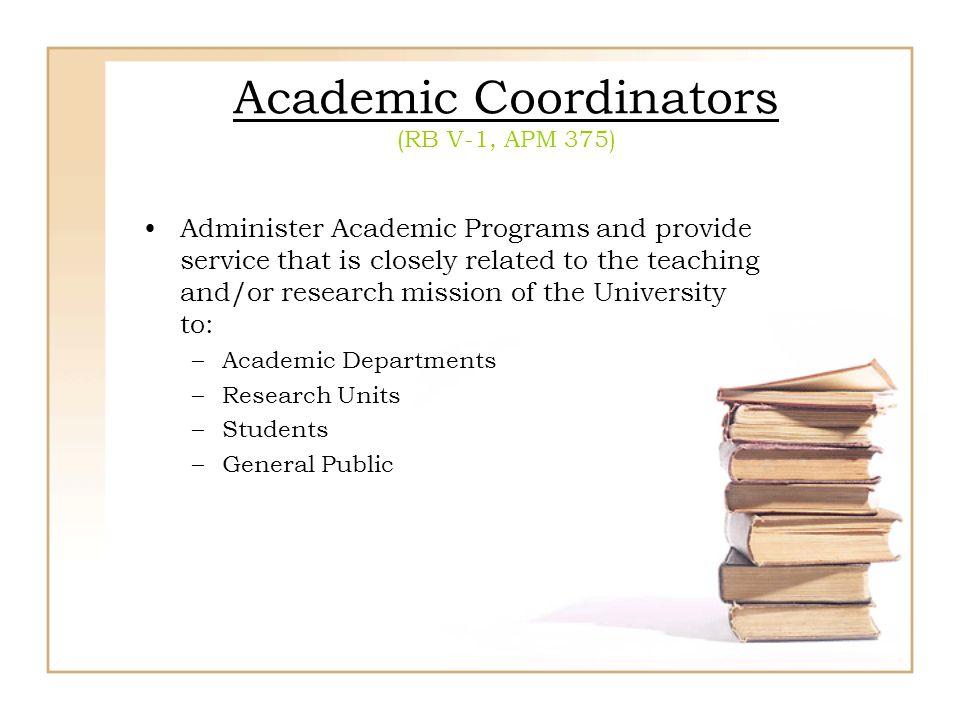 Academic Coordinators (RB V-1, APM 375)