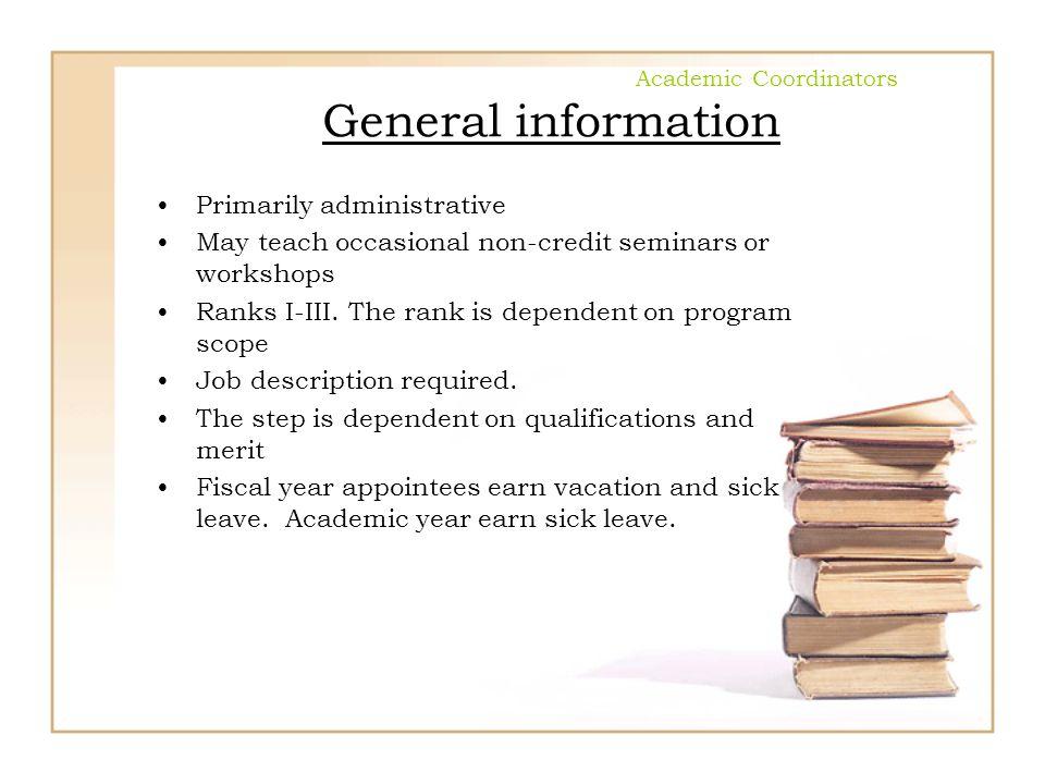 Academic Coordinators General information