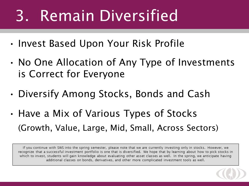 3. Remain Diversified Invest Based Upon Your Risk Profile