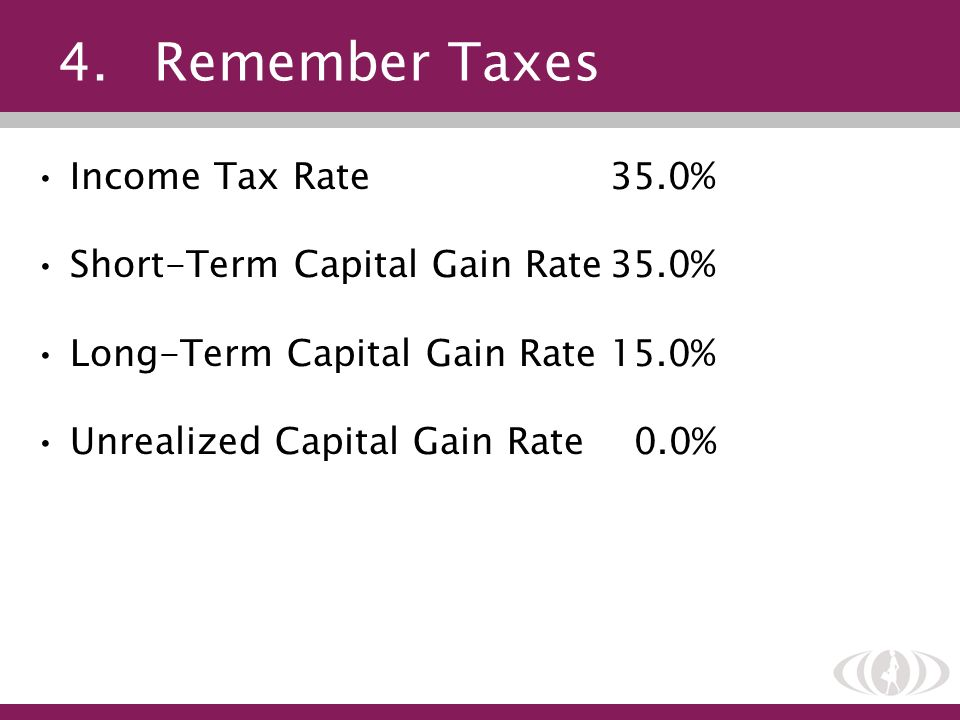 4. Remember Taxes Income Tax Rate 35.0%