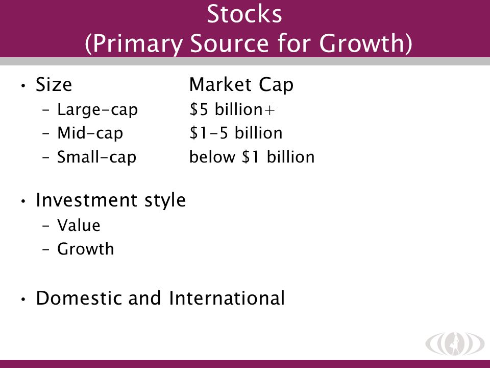 Stocks (Primary Source for Growth)