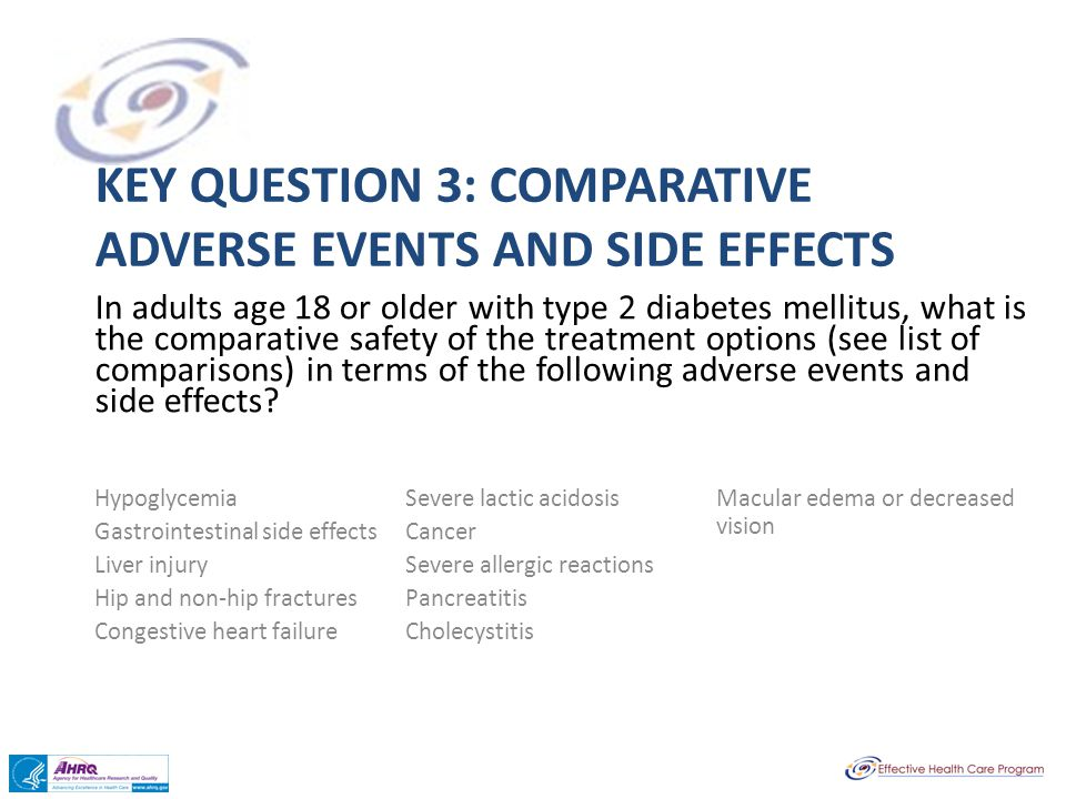 Key question 3: Comparative Adverse Events and Side Effects