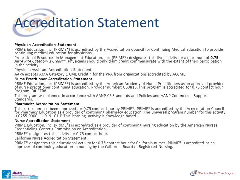 Accreditation Statement