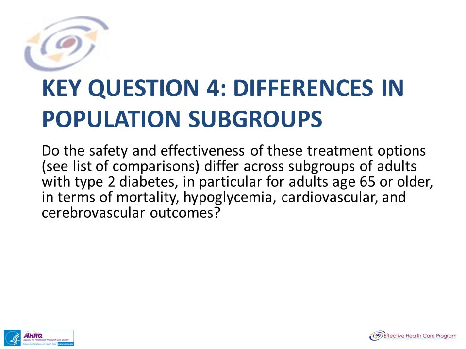 Key question 4: Differences in Population subgroups