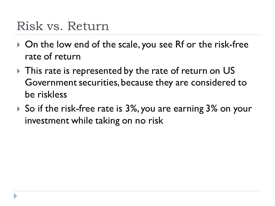 Risk vs. Return On the low end of the scale, you see Rf or the risk-free rate of return.
