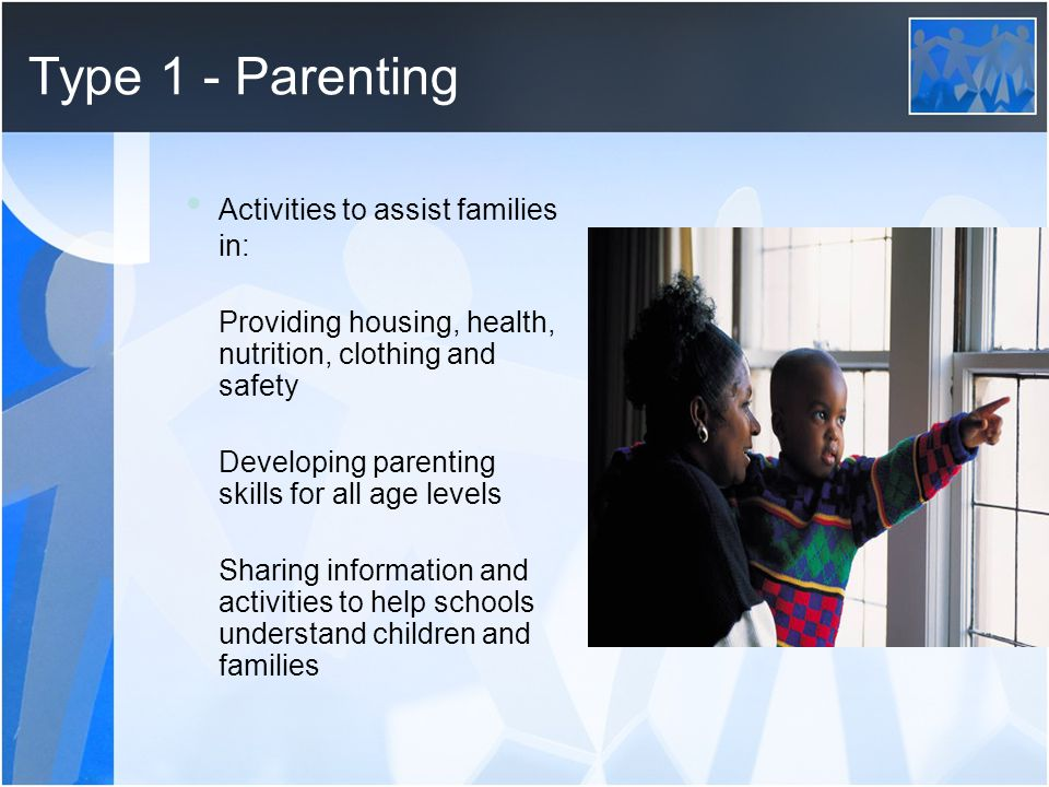 Type 1 - Parenting • Activities to assist families in: