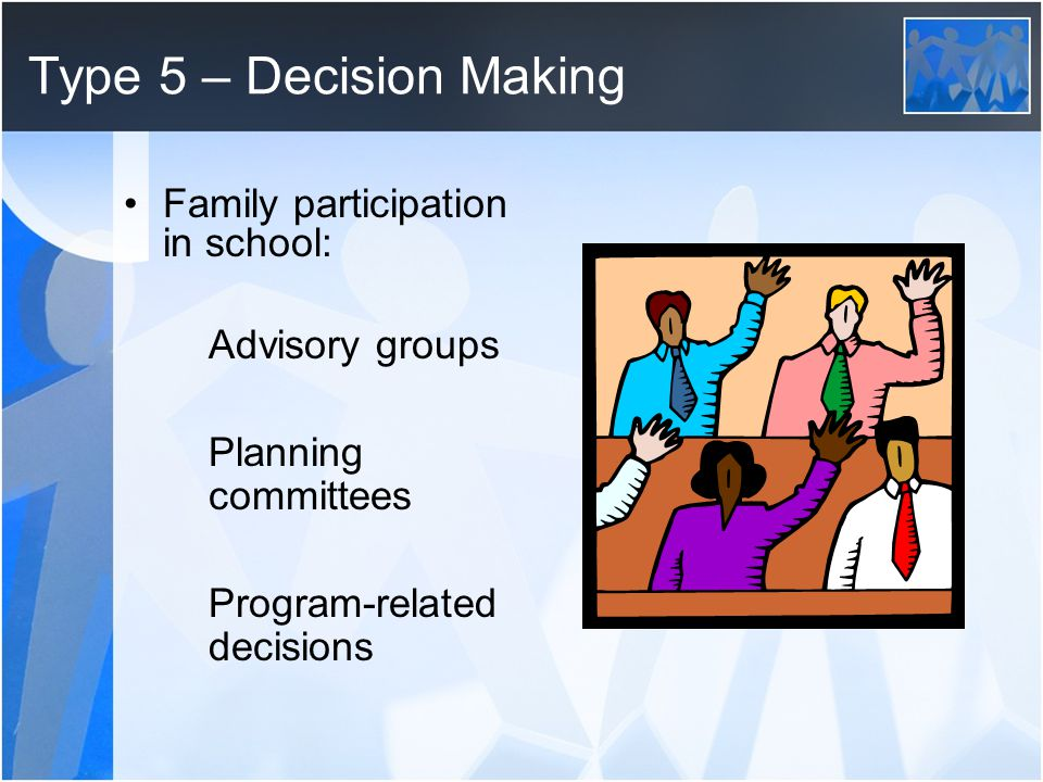Type 5 – Decision Making Family participation in school: