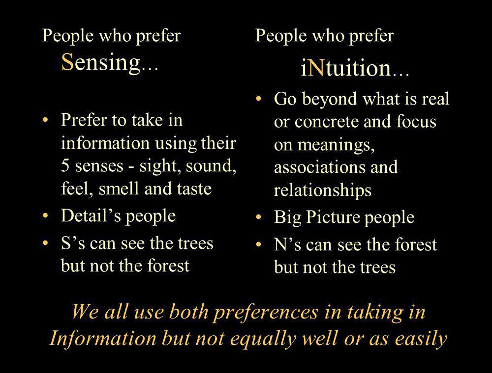 People who prefer Sensing…
