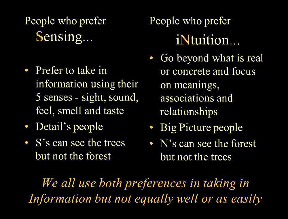 People who prefer Sensing…