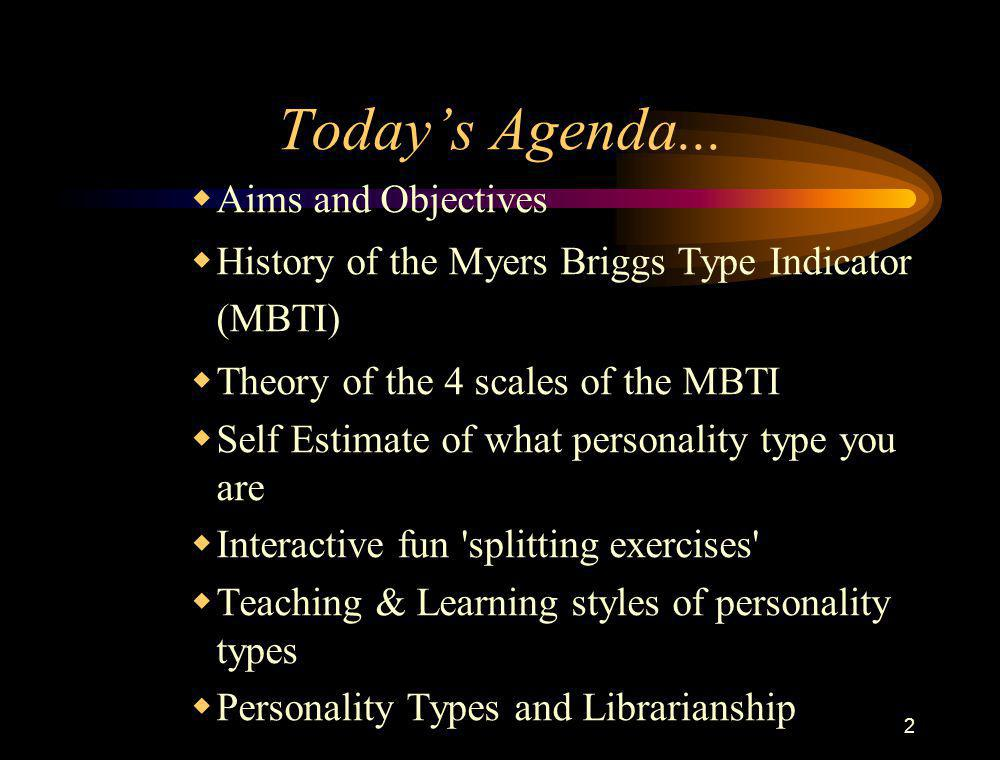 Today's Agenda... Aims and Objectives
