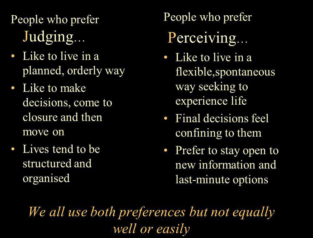 We all use both preferences but not equally well or easily