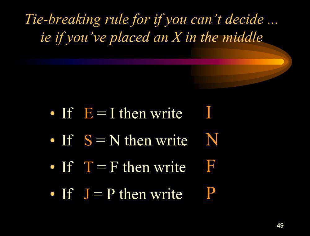 If E = I then write I If S = N then write N If T = F then write F
