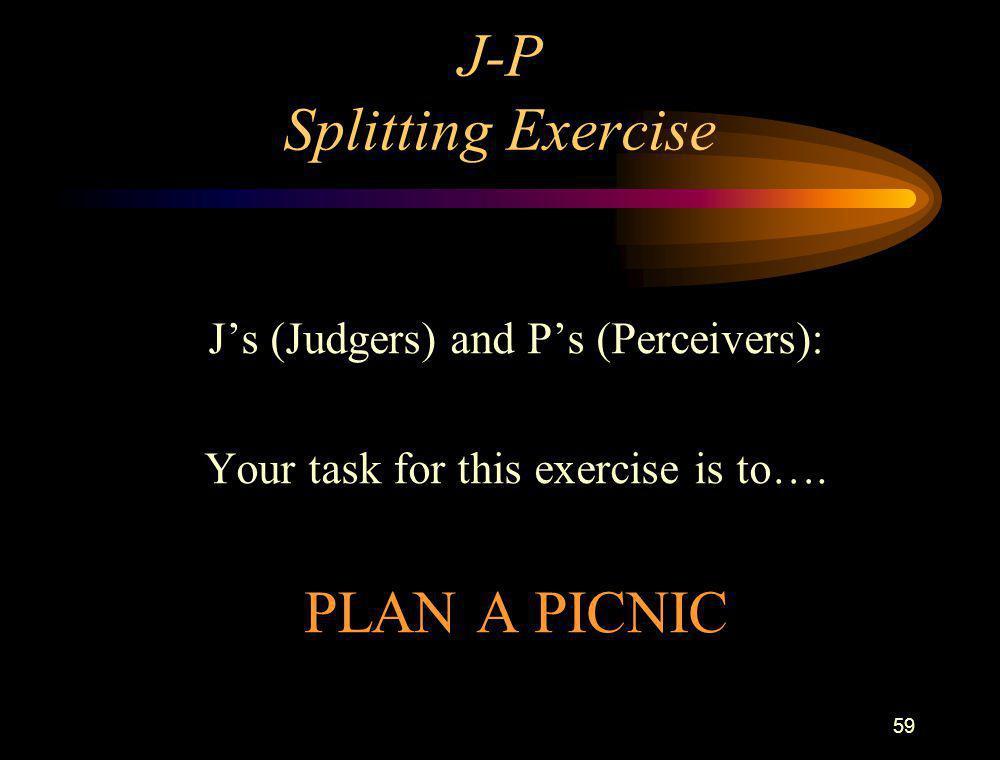 J-P Splitting Exercise