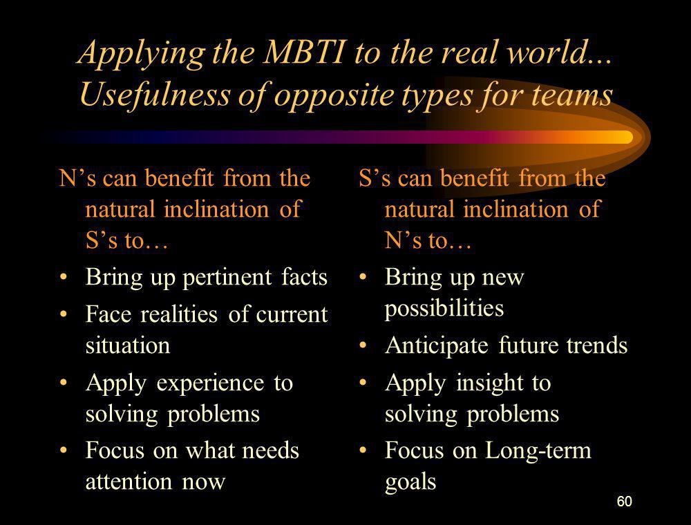 Applying the MBTI to the real world