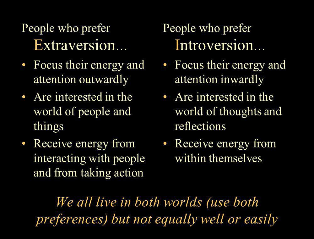 People who prefer Extraversion…