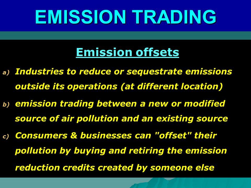 EMISSION TRADING Emission offsets