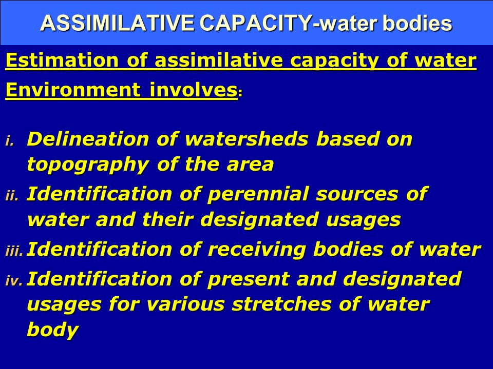 ASSIMILATIVE CAPACITY-water bodies