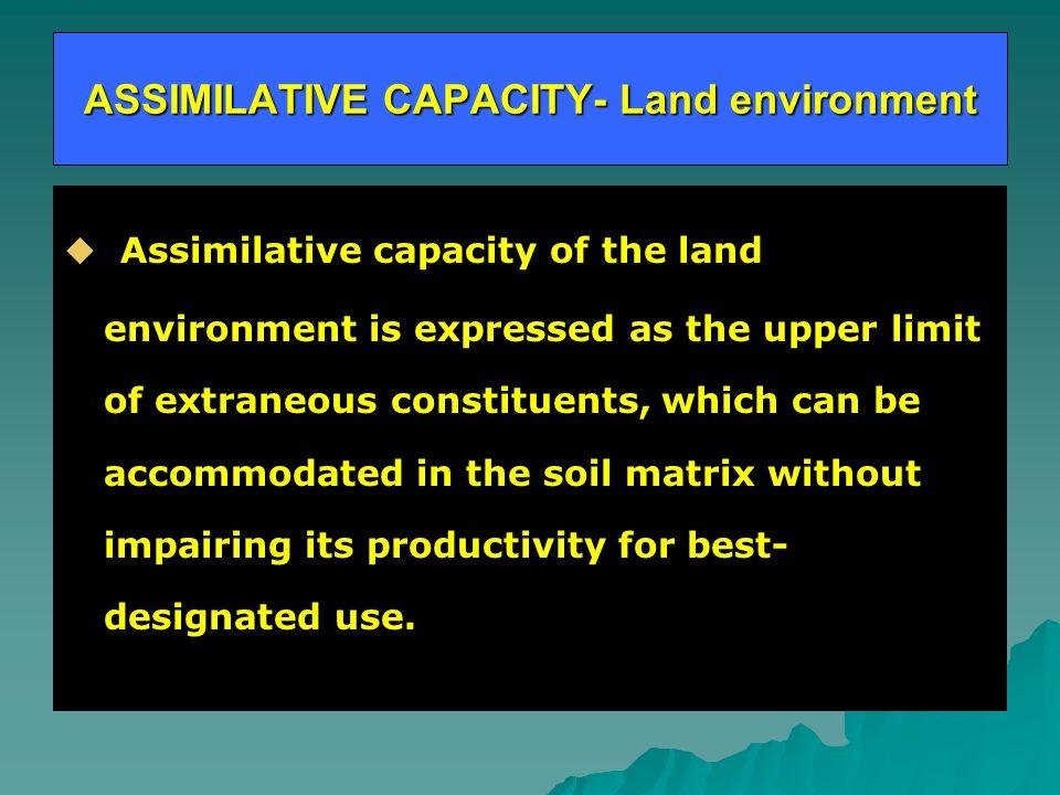 ASSIMILATIVE CAPACITY- Land environment