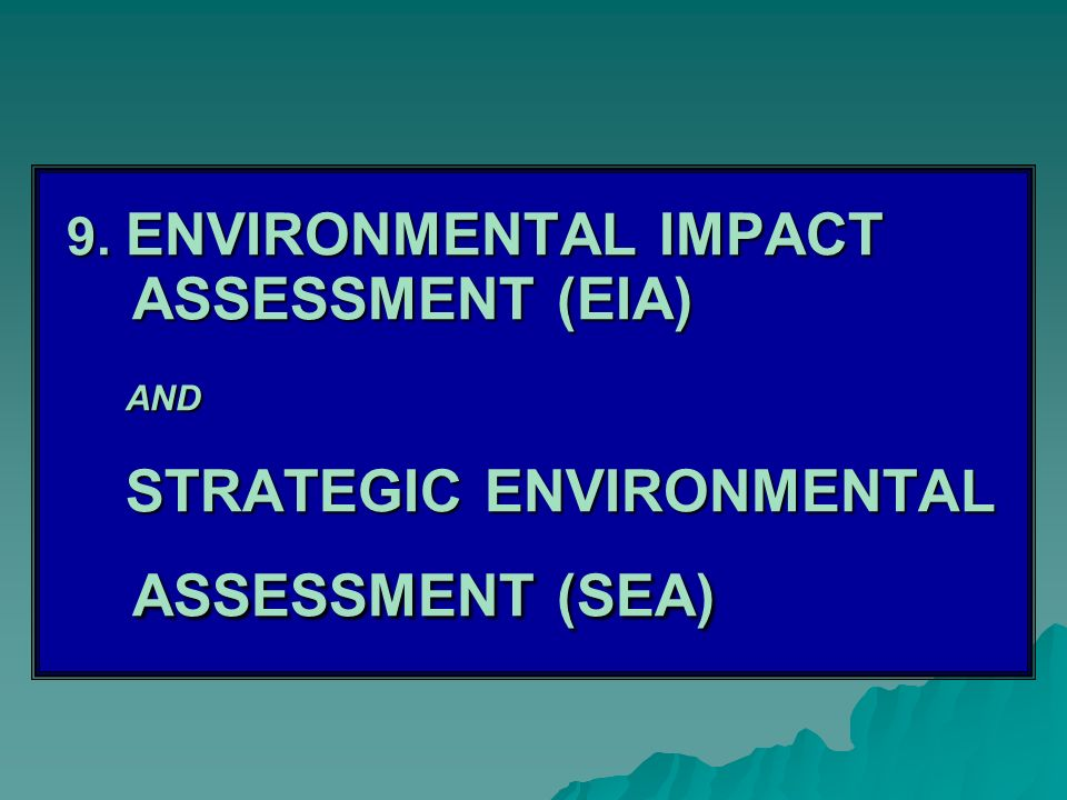 9. ENVIRONMENTAL IMPACT ASSESSMENT (EIA) AND STRATEGIC ENVIRONMENTAL ASSESSMENT (SEA)