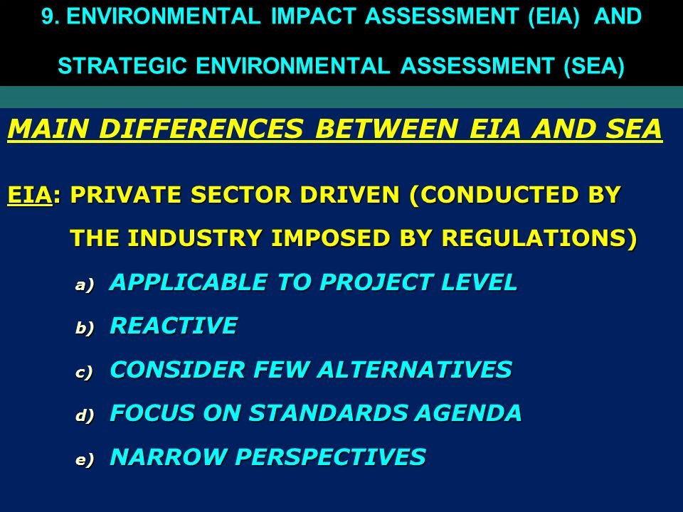 MAIN DIFFERENCES BETWEEN EIA AND SEA