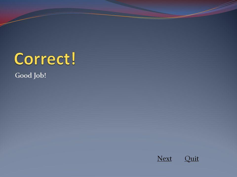 Correct! Good Job! Next Quit