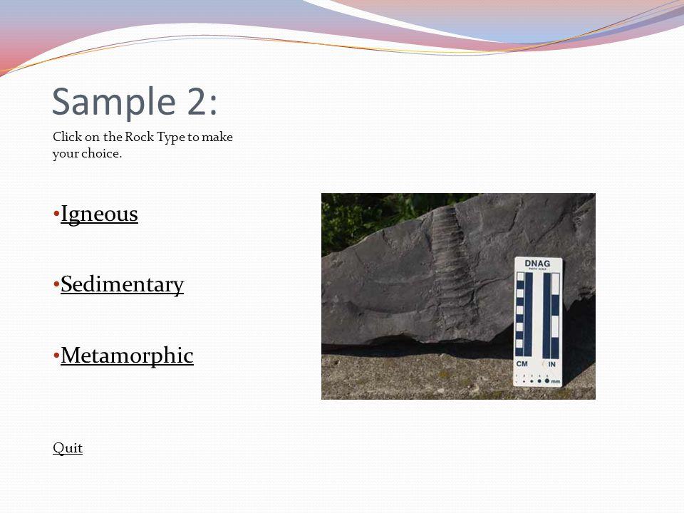 Sample 2: Igneous Sedimentary Metamorphic Quit