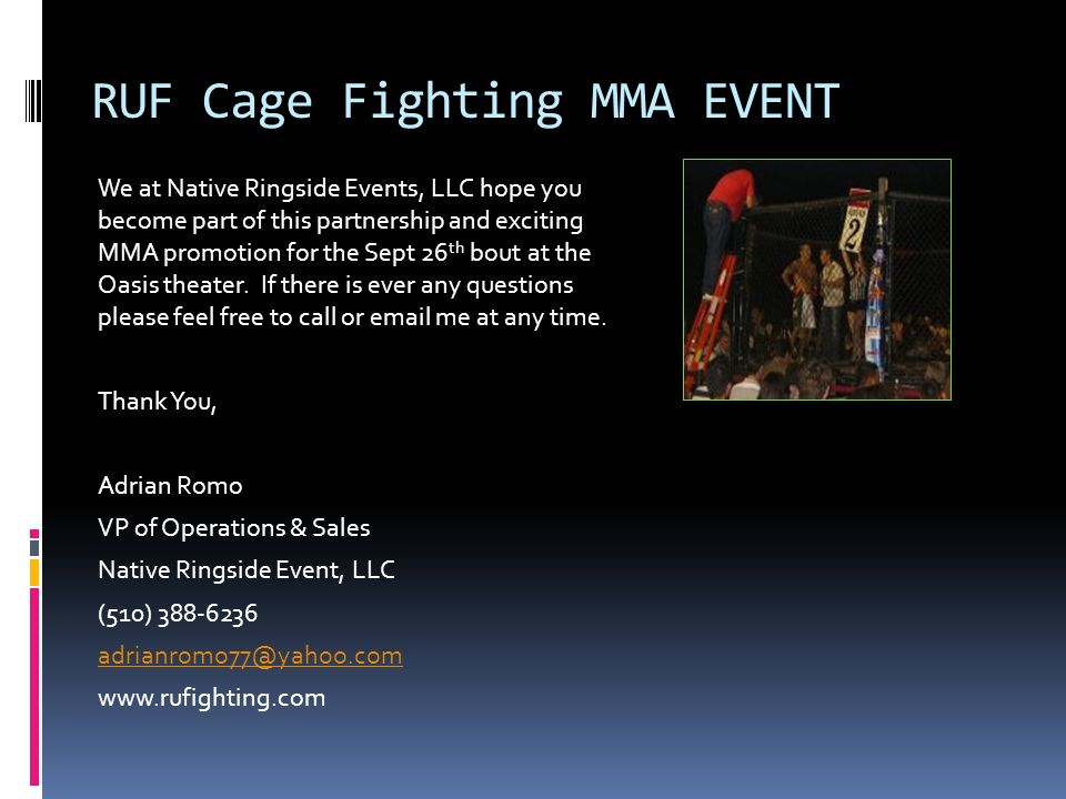 RUF Cage Fighting MMA EVENT