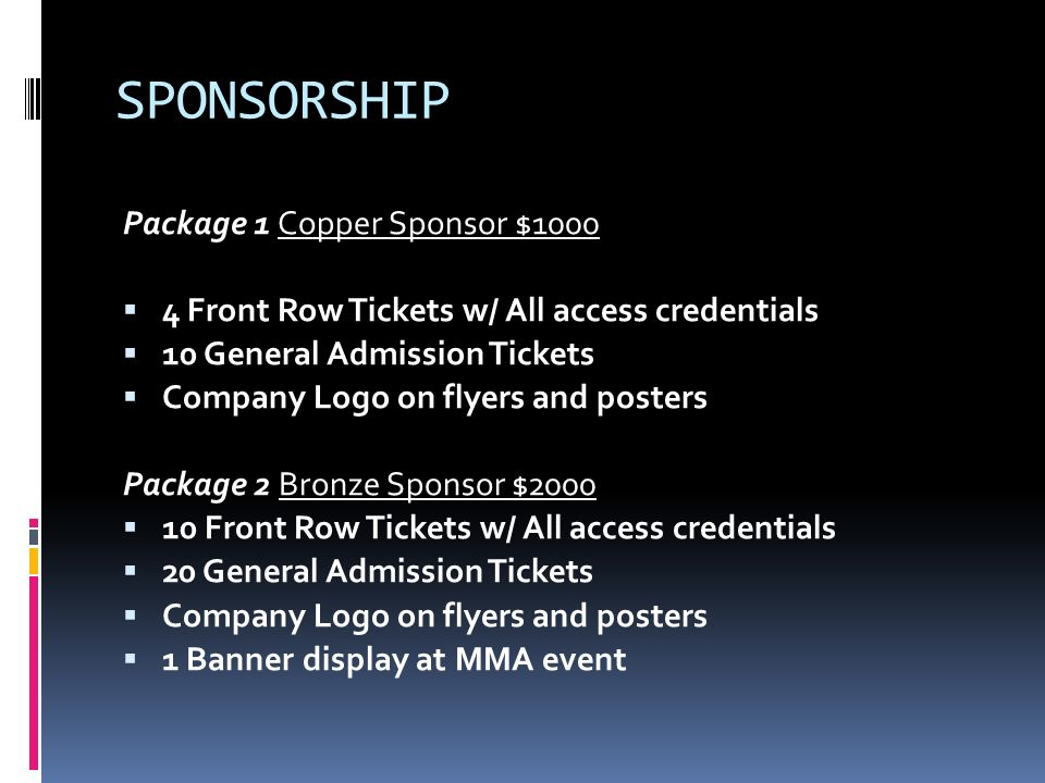 SPONSORSHIP Package 1 Copper Sponsor $1000