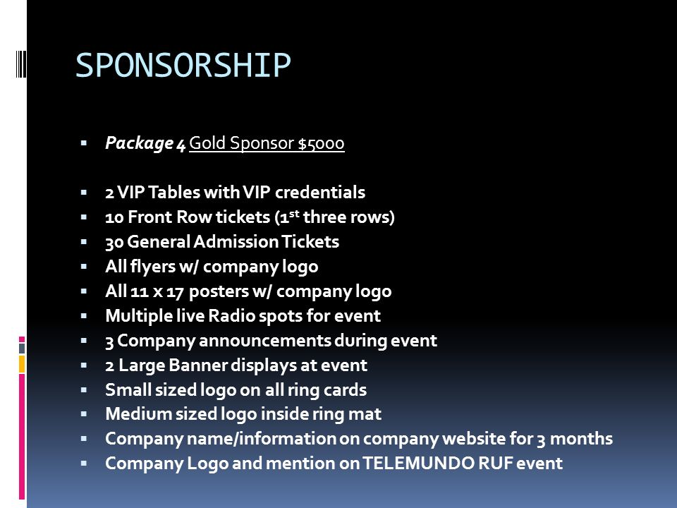 SPONSORSHIP Package 4 Gold Sponsor $5000