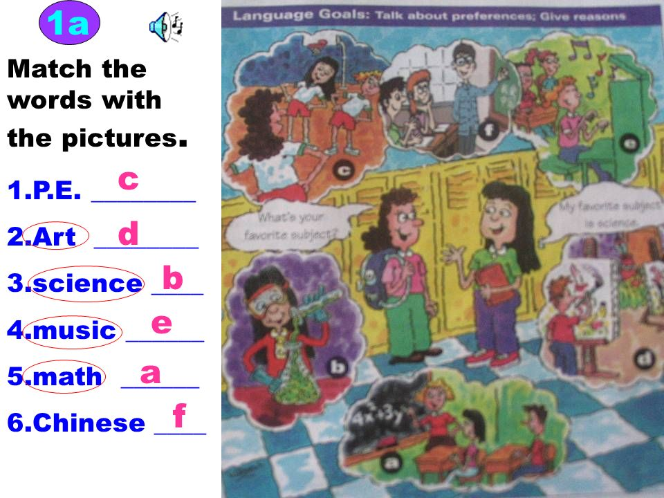 1a c d b e a f Match the words with the pictures. 1.P.E. ________