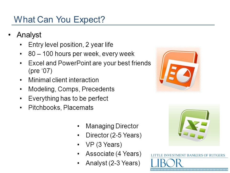 What Can You Expect Analyst Entry level position, 2 year life