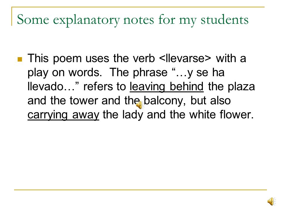 Some explanatory notes for my students