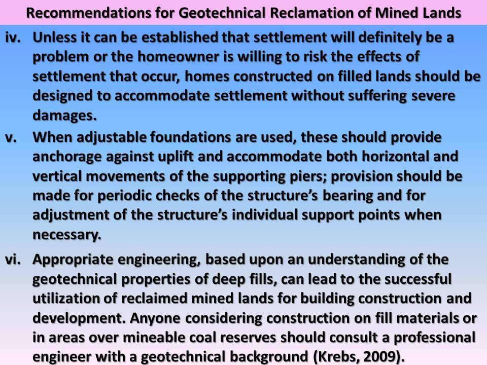 Recommendations for Geotechnical Reclamation of Mined Lands
