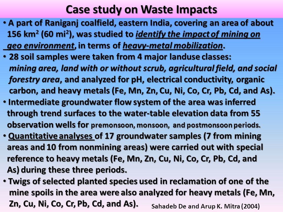 Case study on Waste Impacts