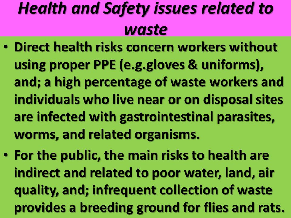 Health and Safety issues related to waste