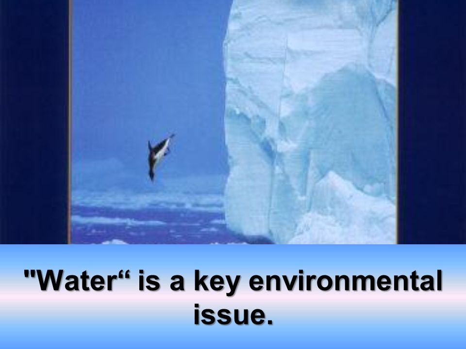 Water is a key environmental issue.