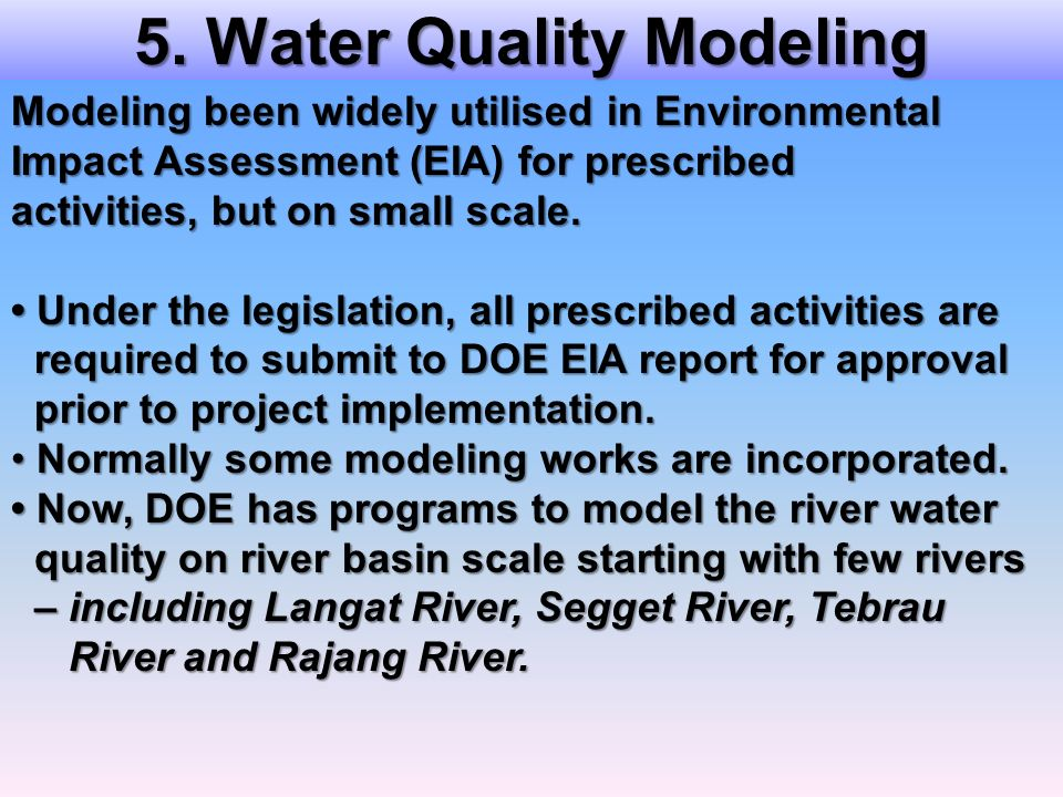 5. Water Quality Modeling