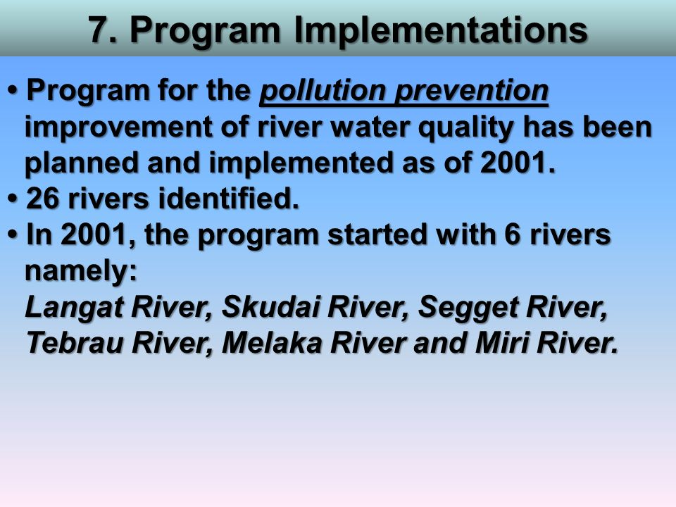 7. Program Implementations