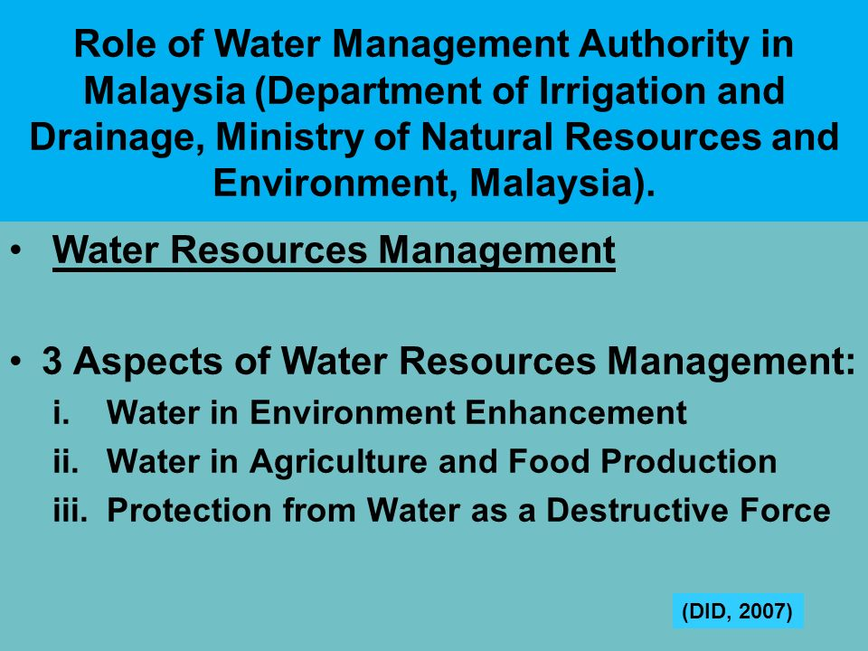 Water Resources Management 3 Aspects of Water Resources Management:
