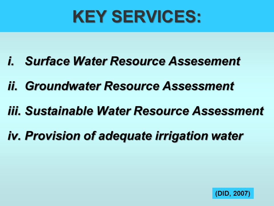 KEY SERVICES: Surface Water Resource Assesement