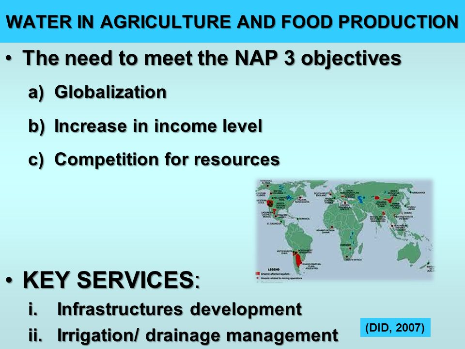 WATER IN AGRICULTURE AND FOOD PRODUCTION