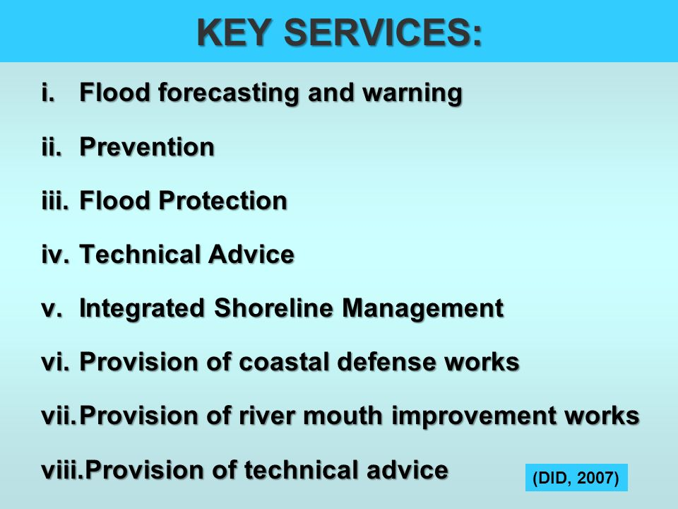 KEY SERVICES: Flood forecasting and warning Prevention