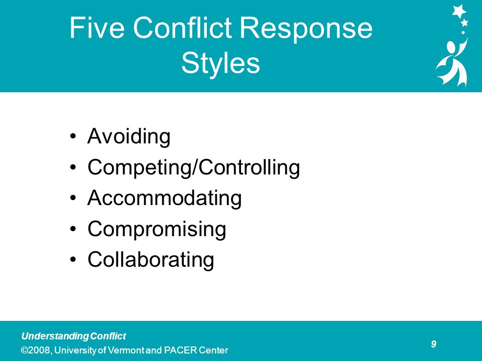 Avoiding What is it Deciding that you don't want to take on a particular conflict. Choosing not to engage in a particular conflict.