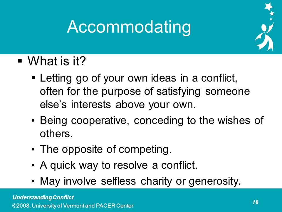 Define accommodating in conflict