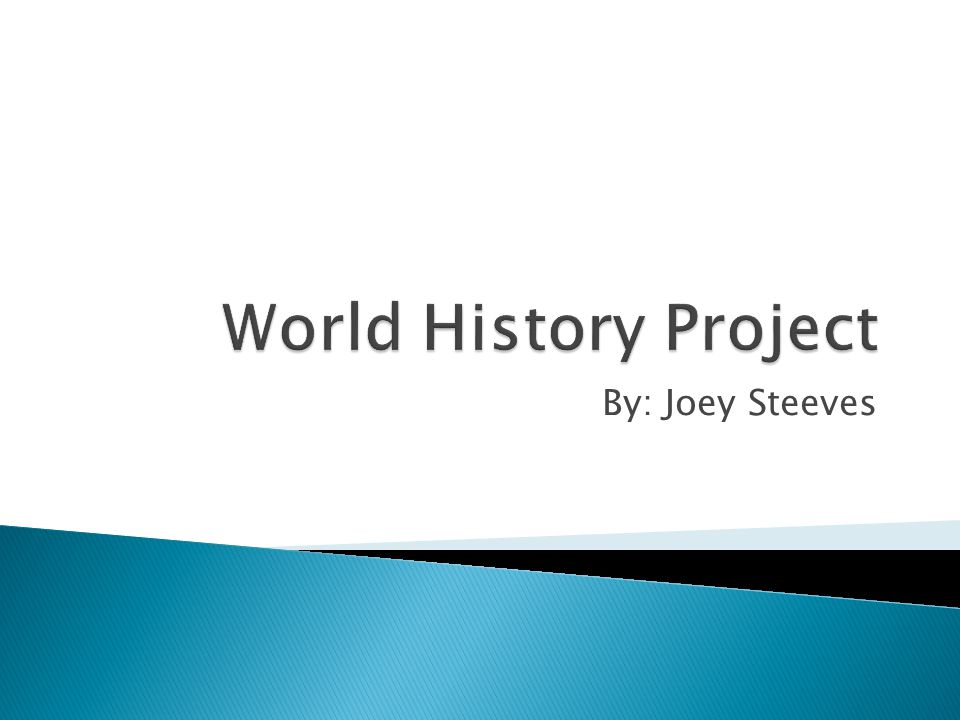 World History Project By: Joey Steeves