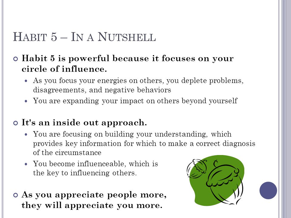 Habit 5 – In a Nutshell Habit 5 is powerful because it focuses on your circle of influence.